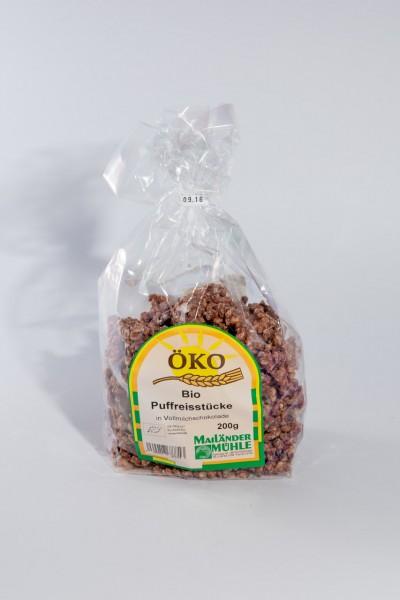 Bio Puffreisstücke in Vollmilchschokolade 150 g