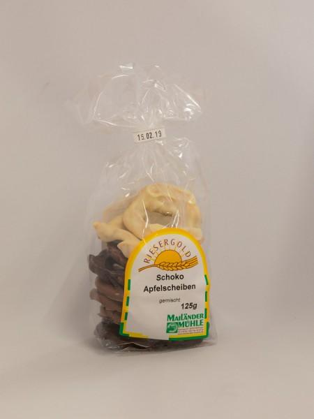 Schoko Apfelscheiben gemischt 125 g